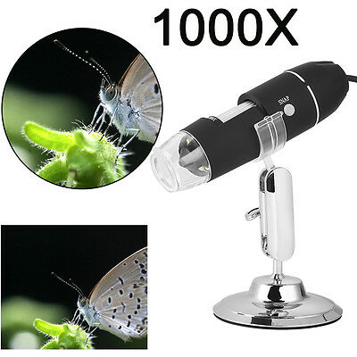 1000X USB Digital Microscope Endoscope HD 2MP Magnifier Camera 8 LED
