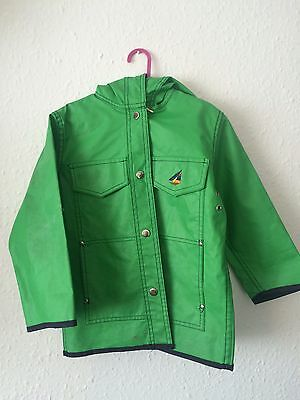 Vintage Kids Green Unisex Waterproof Fisherman's Jacket Raincoat Coat Mac 5-6