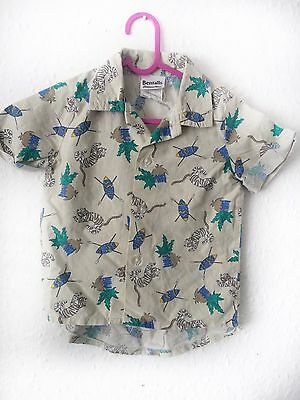 Vintage Kids 80s 90s Safari Bugs Unisex Summer Cotton Safari Shirt Top 1-2y