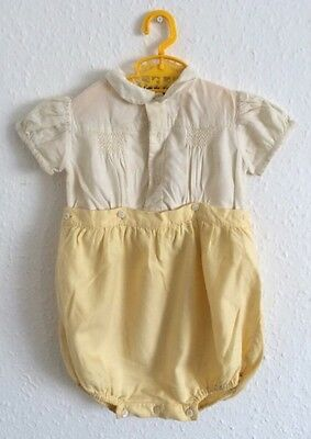 Vintage 50s/60s Whimsical Traditional Romper Yellow Cream Peter Pan Clydella 1-2