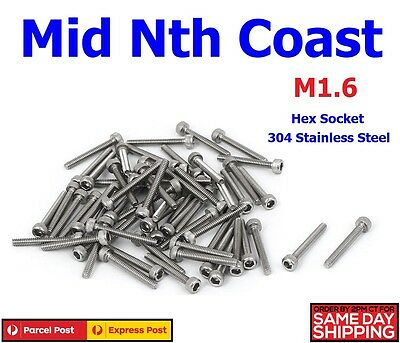M1.6 x 3-10mm Stainless Steel Hex Cap Socket Head Machine Screws 5/10pc