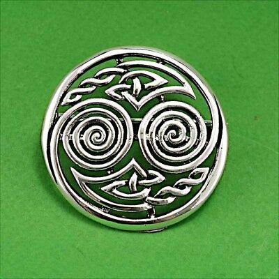 Silver Double Spiral Celtic Knot Brooch Kilt Pin for Dancing Scarf Jacket