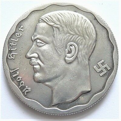 Ww2 1933 Adolf Hitler German Exonumia 100 Reichsmark Coin  Silvered*