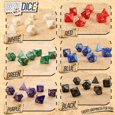 Random Set of 6 Seven Sided RPG Dungeons Dragons Polyhedral Dice with BAG Green