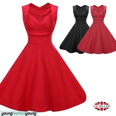 Women's 1950's Retro Rockabilly Vintage Style V-Neck Evening Party Swing Dress