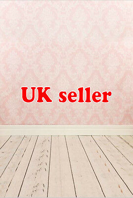 GIRL PINK DAMASK BACKDROP WALLPAPER BACKGROUND VINYL PHOTO PROP 5X7FT 150x220CM