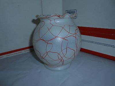 VTG 1940s/1950s HAZEL ATLAS FROSTED GLASS RED SPAGHETTI DRIZZLE FISH BOWL VASE