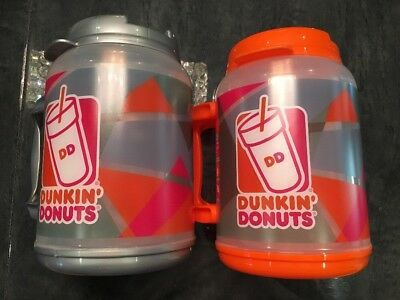 Dunkin Donuts 64 oz. HOT/COLD LARGE TRAVEL MUG Thermos, Gray Orange Clear White