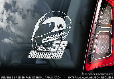 Marco Simoncelli -Moto GP Car Sticker- Honda HELMET 58- PROCEEDS TO CHARITY TYP2