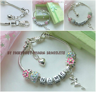 Any name charm bracelet Flower girl Birthday gift in Pouch or boxed childrens