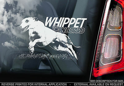Whippet - Car Window Sticker - Dog on Board Sign -n.Italian Greyhound Snap- TYP2