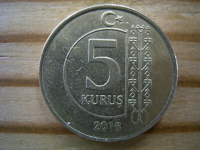 Turkey 2015   5 kurus coin collectable.