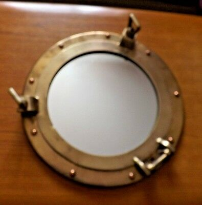 Vintage ship boat porthole brass mirror nautical marine for Porthole style mirror