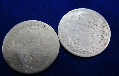 1896  Queen Victoria Silver English Threepence , plus Young Victoria Threepence,