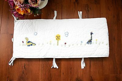 Little White Company Cot Bed Bumper Quilted Animal Appliqued Embroidered