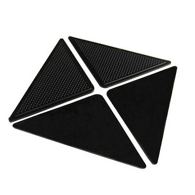 4PCS Black Anti-slip Sticker Desk Carpets Rug Coner Side Pads Mats Durable