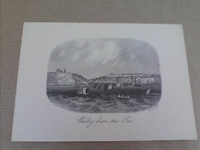 'Whitby from the sea', North Yorkshire Black & White Drawing Print Postcard  (B1
