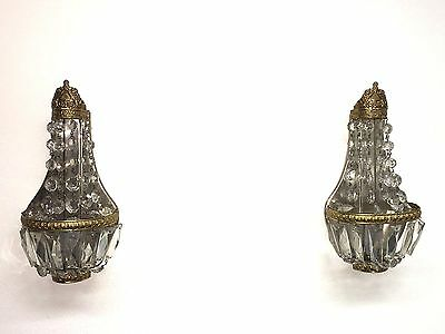 Vintage Pair of French Empire Basket Crystal Prism Wall Sconces Empire Style