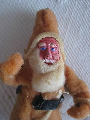 Old Cotton Batting Santa Claus Ornament with Finely Modeled Papier Mache Face