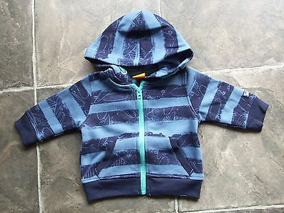 BNWT Baby Boy's Blue Skateboards Fleecy Hoodie/Hooded Jacket Size 0