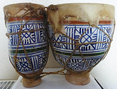 Vintage Authentic Moroccan African Pottery & Animal Hide/Skin Double Bongo Drum
