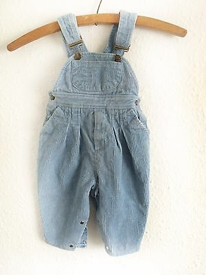 Vintage Kids French Classic Baby Blue Workwear Cord Unisex Dungarees 1 Y