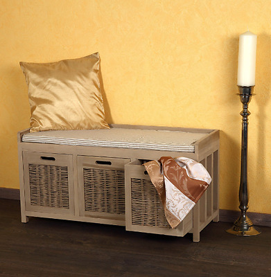 Wooden Storage Bench With 3 Baskets And Cushion Seat Hallway Bedroom