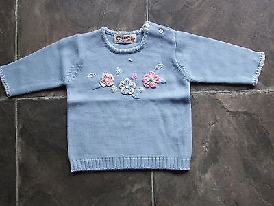 BNWNT Baby Girl's Blue Knitted Wool & Acrylic Jumper Size 0