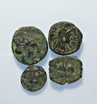 LOT OF 4 pcs ANCIENT GREEK BRONZE COINS
