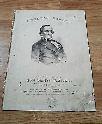 Vintage Sheet Music. Funeral March 1861 Beethoven featuring Daniel Webster