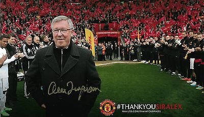 HAND SIGNED SIR ALEX FERGUSON MANCHESTER UNITED 12x8 INCH PHOTO **PROOF** + COA