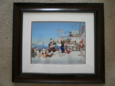 Popeye Cel - Tall Stacks  - Limited Numbered Edition - Custom Framed & Matted