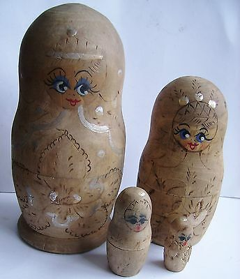 GENUINE ANTIQUE RUSSIAN STACKING MATRYOSHKA DOLLS.  Four dolls.