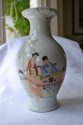 """ANTIQUE  CHINESE JAPANESE  Oriental FAMILLE ROSE VASE A/F MARKed To Base 8.75"""""""