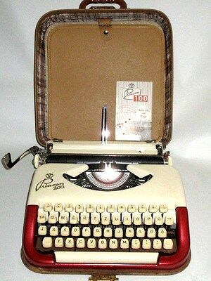 german Typewriter Princess 100 Keller & Knappich two-tone metallic red & cream