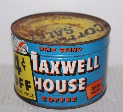 Maxwell House Drip Grind Coffee Tin Can Unopened Sealed NOS Key Wind Vintage