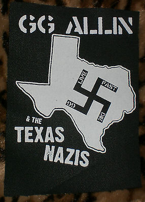 GG ALLIN & THE TEXAS N*ZIS Live Fast Die OFFICIAL PATCH antiseen g.g. dwarves