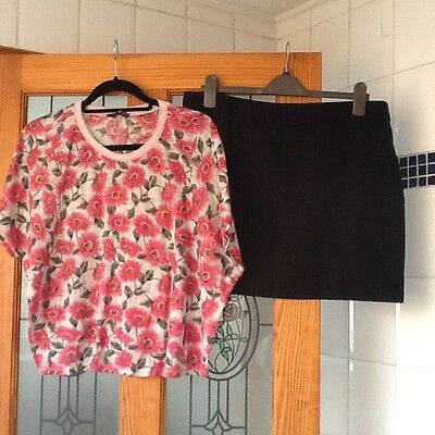 Ladies Pink Floral Top and Mini Skirt size 20