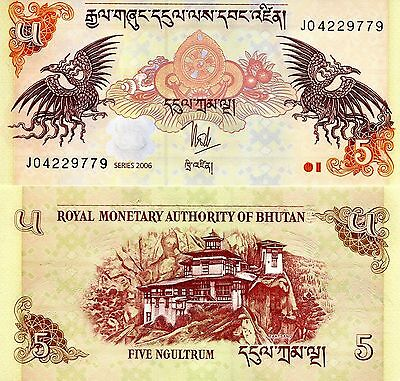 BHUTAN 5 Ngultrum Banknote World Paper Money UNC Currency Pick p28a Dragons Bill