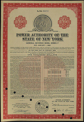 USA Power Authority of the State of New York bond 1000 Dollar 1959