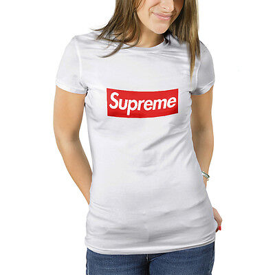 T shirt Supreme New York maglia donna bianca con stampa digitale