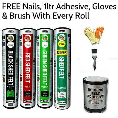IKO Shed Felt | Shed Roofing Felt | FREE Nails, 1ltr Adhesive, Gloves and Brush