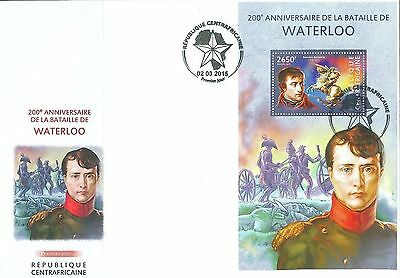 Central Africa 2015 Battle Waterloo Napoleon Bonaparte Horse France SS FDC 110