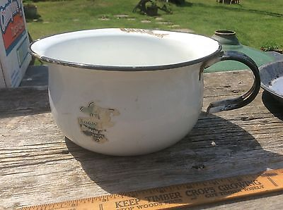 Vintage Enameled White Chamber Pot With Black Trim, Paper Labeled , Country