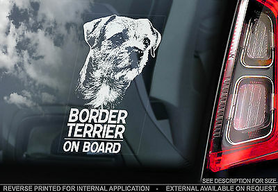 Border Terrier - Car Window Sticker -  Dog on Board Sign Art Gift