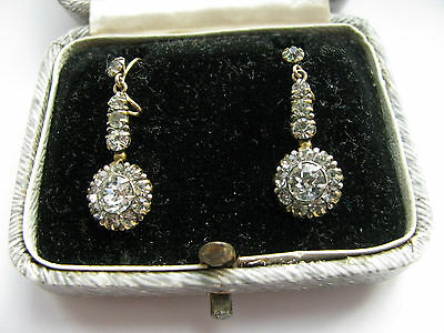 9ct Yellow Gold Nouveau Stunning Hook Earrings & Box Solid Gold Beautiful & Rare