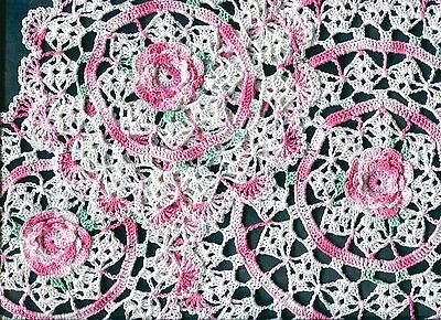 """Variegated Pink Rose Crochet Set 3 Flower Doily Doilies appr 12"""" and 2 X 8"""""""
