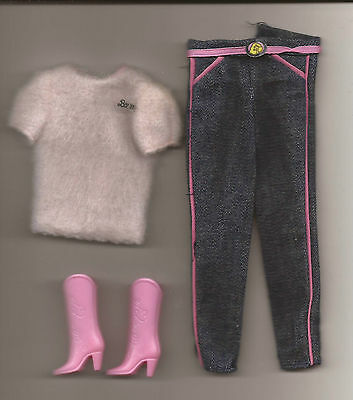 Vintage Pink Sweater, Blue Jeans And Pink Cowboy Boots For Fashion Jeans Barbie