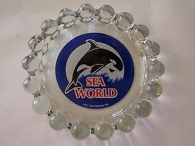 "1977 Sea World 8"" Heavy Glass Ashtray - Leaping Killer Whale"