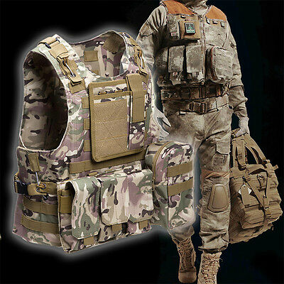 Tactical Military Molle Plate Carrier Airsoft Hunting Combat Vest Waistcoat CS